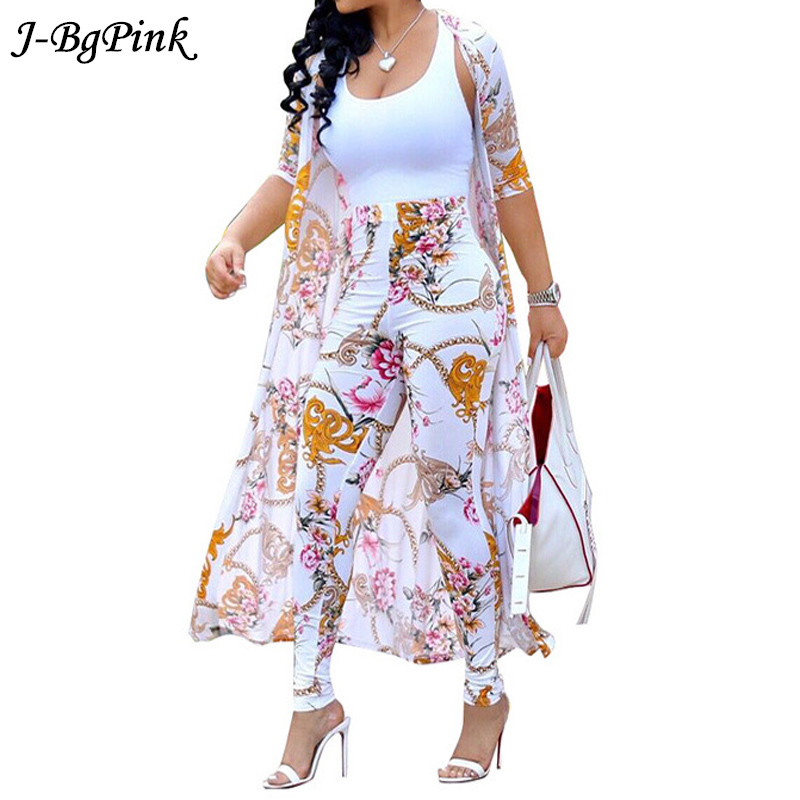 Discreet Summer 2 Pieces Set Women Cardigan Long Trench Coat And Tops And Bodycon Casual Pant Suit Boho Sexy Two Piece Suits 2019 Utmost In Convenience Women's Clothing Suits & Sets