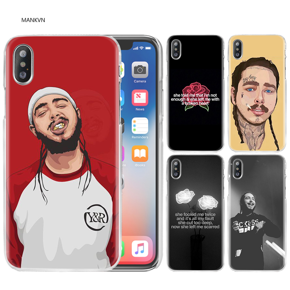 Post Malone Case Cover Clear Hard PC for iPhone XS Max XR 7 8 6 6s Plus X 5 5s SE 5C 4 4S