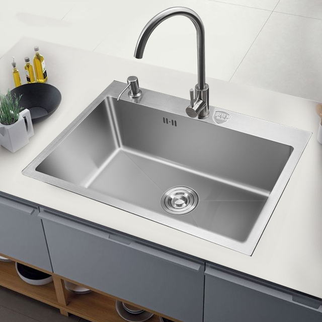Kitchen Sink Single Bowl Above Counter Or Udermount Installation Handmade Brushed Seamless 304 Stainless Steel