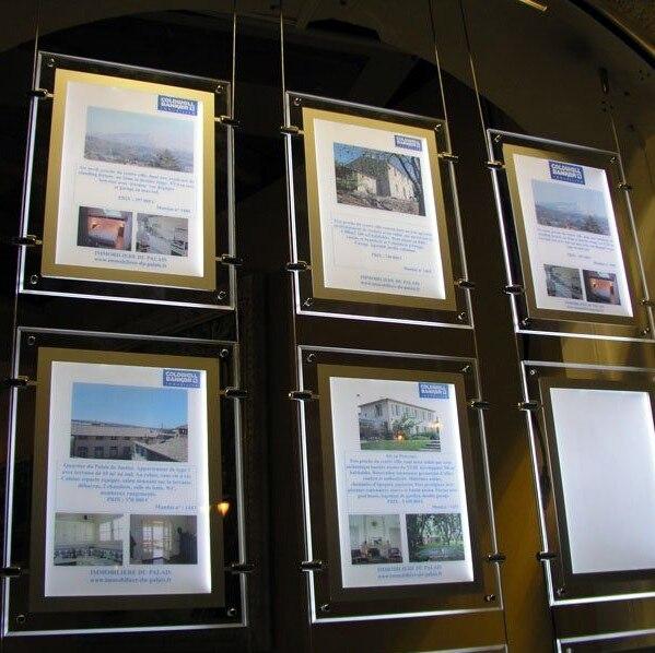 Real Estate Window Hanging Display Systems,LED Illuminated Acrylic ...