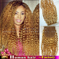 4*4 Brazilian Human real Hair Silk base closure Afro curly deep wave Lace Closure Bleached Konts with body hair #27 Honey blonde