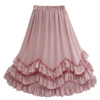 Sweet Kids Girls Ruffles Maxi Skirts Children Pink Cotton Summer Fashion Holiday Birthday Skirt