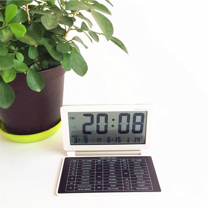 Travel alarm clocks GMT world time table,snooze function,date,timer bedroom desktop LED digital clock xyzTime-AQ141-White-Clock
