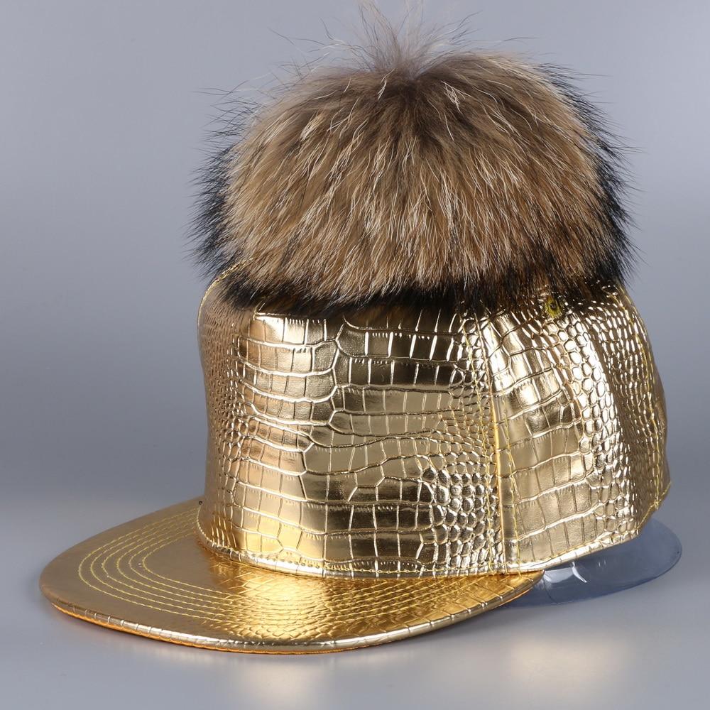 women luxury raccoon pompom pu leather baseball cap gold silver black color genuine real animal ball girl snapback winter hats