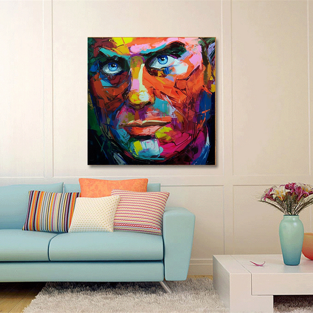 Abstract Painting on Canvas Handpainted Knife Painting for Office Room Wall Decor Cool Man Face Artwork Wall Art Canvas Dropship