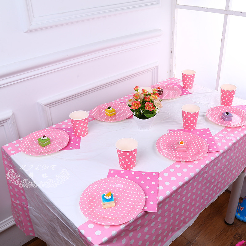 180 108cm Plastic Table Clothcolored Dots Waterproof Disposable Tablecloth Kids Birthday Party Wedding Home In Tableware From