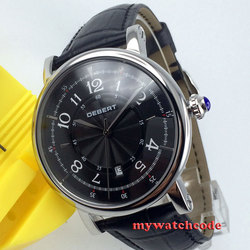 Wielka wyprzedaż polerowany 43mm debert czarna tarcza mechaniczny automatyczny męski zegarek na rękę D5