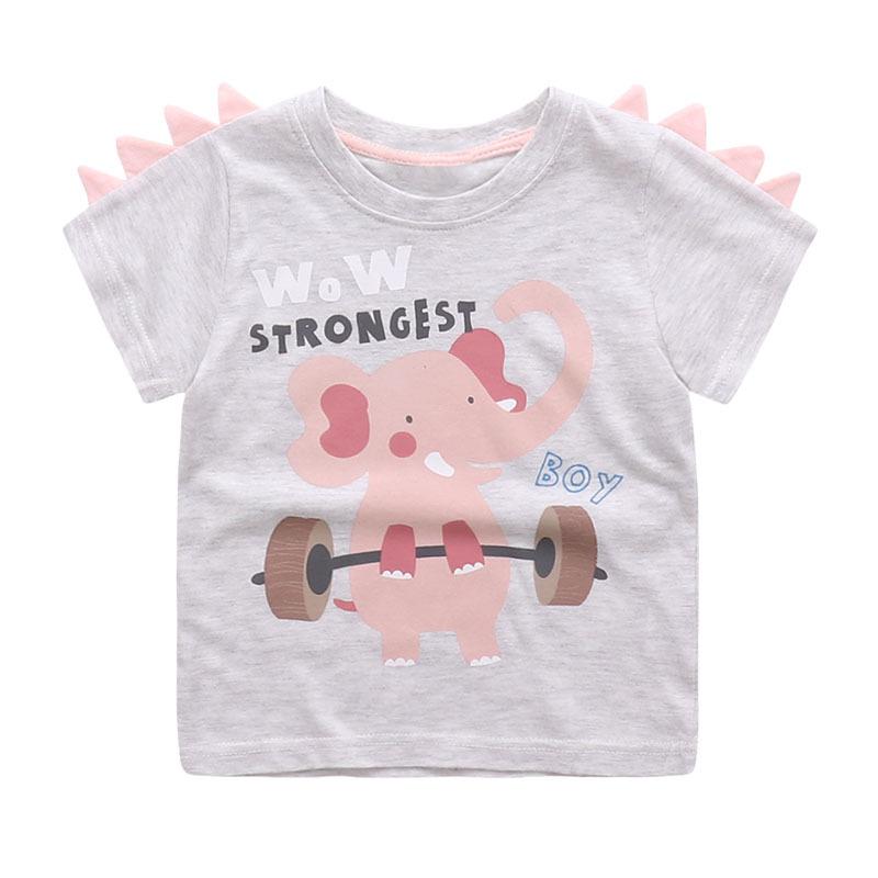 HTB1RSYoSFXXXXcRaXXXq6xXFXXXw - Cute Summer New Girls Boy T-shirt Children's Bottom Kids Lovely 3D Animal Cartoon Shirt Baby Clothes, Dinosaur/ Bear/ Elephant