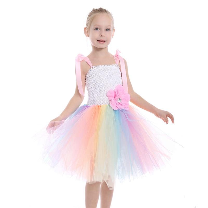 2018 New Rainbow Color Pastel Girl Unicorn Birthday Party Tutu Dress With  Flowers Girls Pony Unicorn Theme Halloween Costume