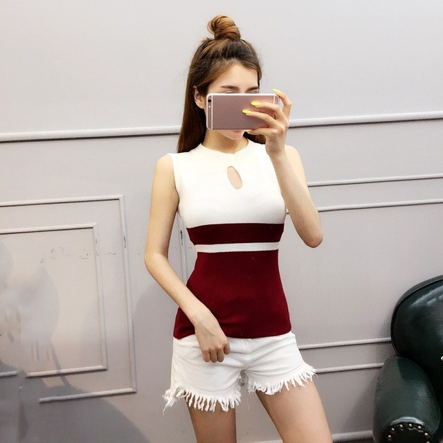 Fashion 2019 New Spring Summer Women Sweater Knitted Sleeveless Top O-Neck Sexy Slim Button Casual Sweaters Tops 8