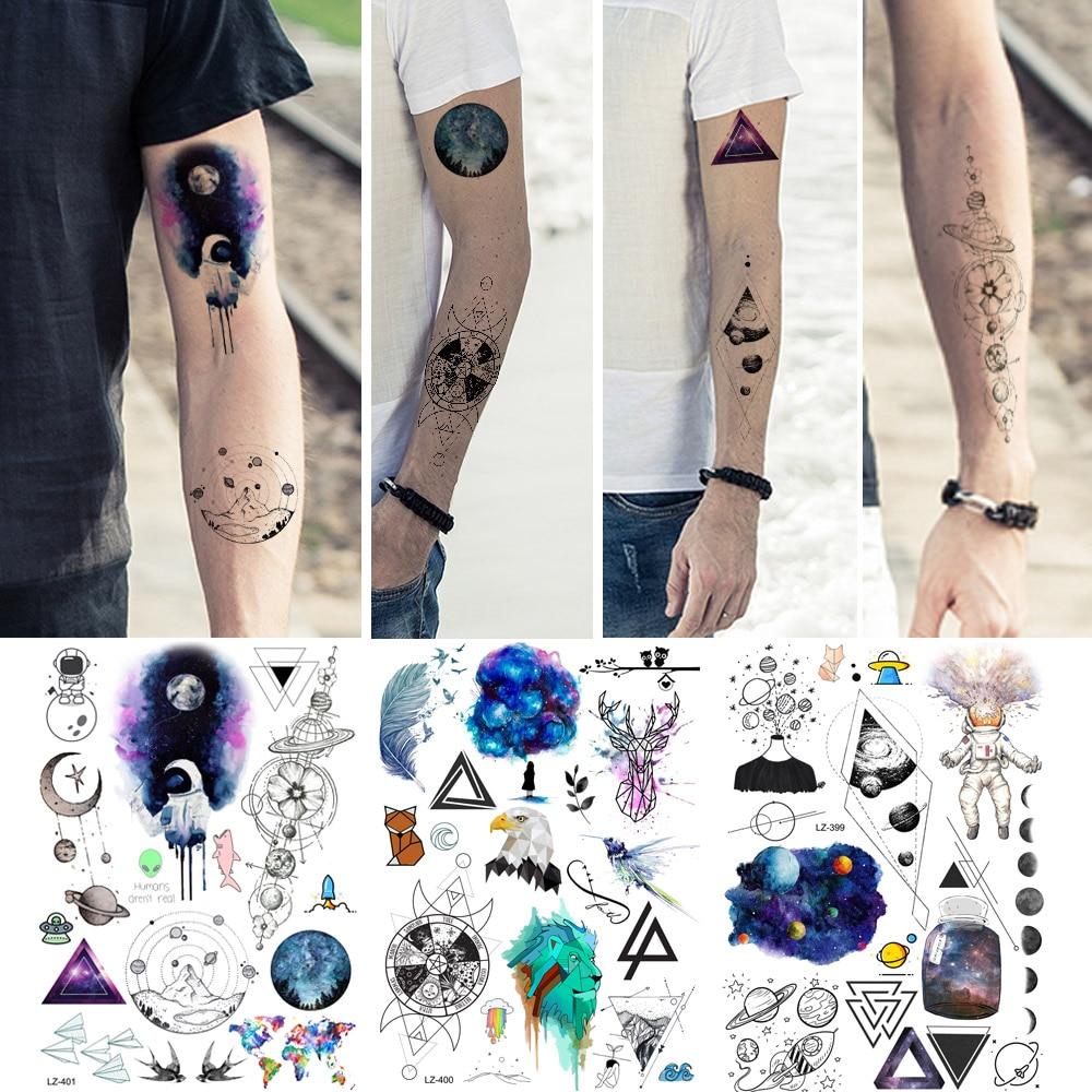 REJASKI Blue Galaxy Planets Spaceman Temporary Tattoo Stickers Watercolor Eagle Body Art Tatoos Geometric Hill Fake Tattoos Arm(China)