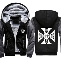 West Coast Choppers Printed Hoodies Men Sweatshirts Winter Warm Thicken Fleece Zipper Coat plus size Jackets harajuku Hoody Male