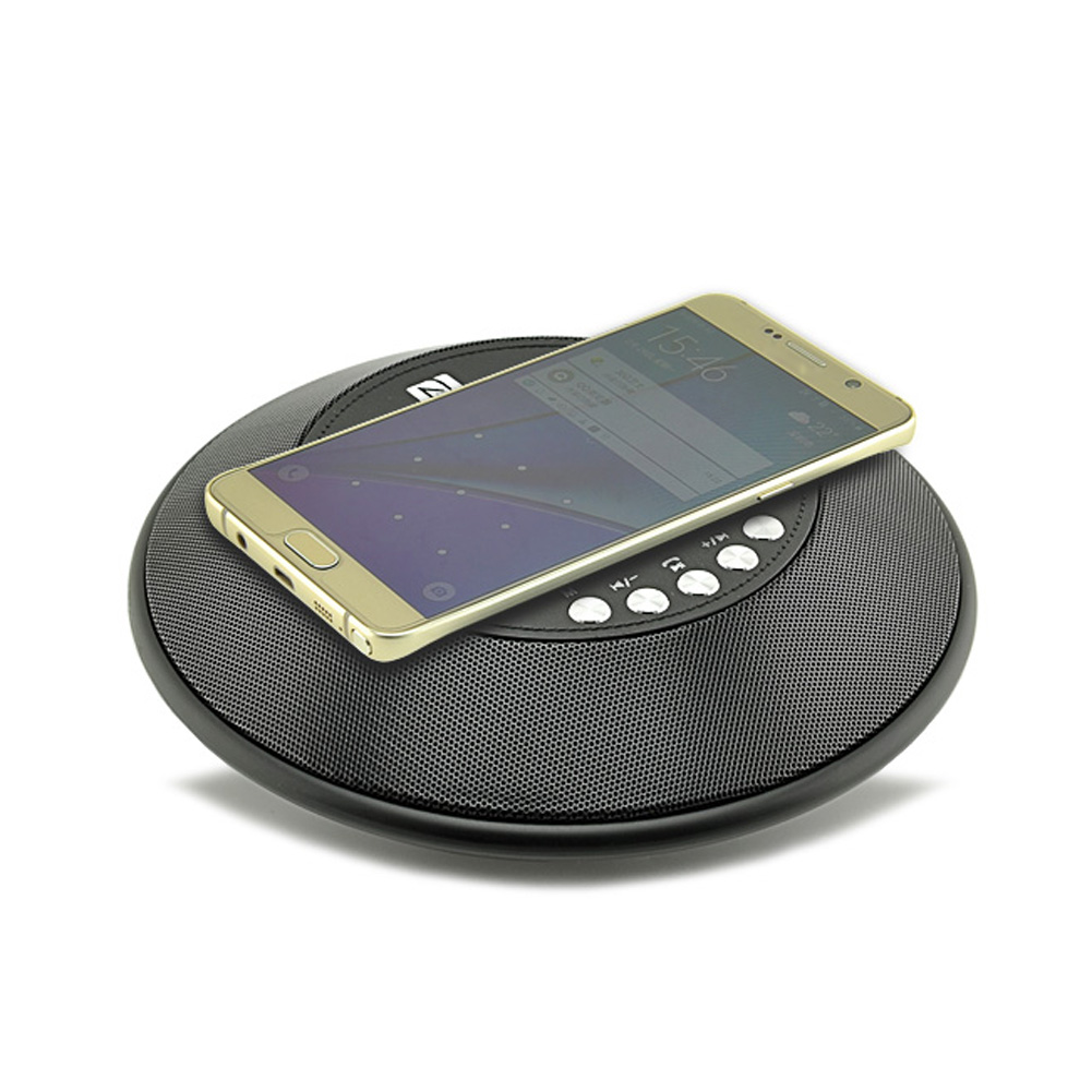 ship from RU Wireless Bluetooth Speaker QI Wireless Charger with FM Radio NFC Alarm Clock for iPhone Samsung @JH baseus e50 24w bluetooth speaker with wireless charger function qi wireless charger speaker for iphone x samsung xiaomi huawei