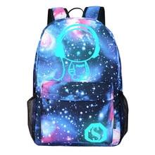 Лидер продаж рюкзак унисекс мультфильм опрятный рюкзак звездное небо свет печати Серебристых школьные сумки школа моды сумка