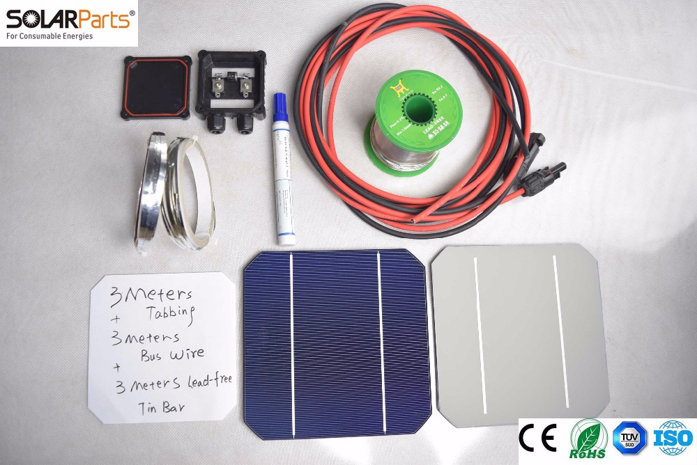 Solarparts 1x 162W/18V DIY solar panel kits with 156*156mm normal monocrystalline solar cell use flux pen+tab wire+bus+connect . high efficiency solar cell 100pcs grade a solar cell diy 100w solar panel solar generators