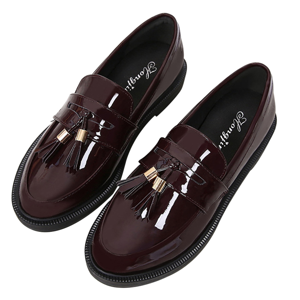 Women Patent Leather Autumn Vintage Rubber Sole Solid Anti-slip Wear-resisting Casual
