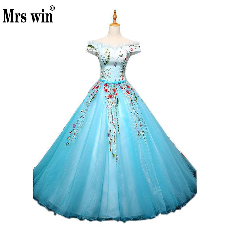 Quinceanera Dresses 2018 New The Short Sleeve Elegant Boat Neck Floor-length Classic Embroidery Ball Gown Candy Color Prom Gown