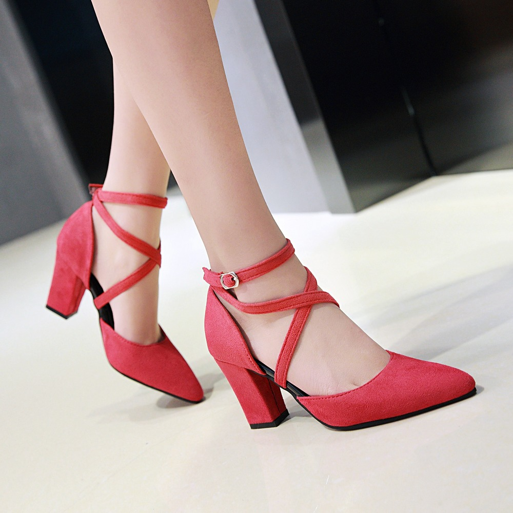 Large size 34-47 pointed toe women pumps ankle strap heels shoes thick heel ladies fashion red high heel party wedding shoes meotina high heels shoes women pumps party shoes fashion thick high heels pointed toe flock ladies shoes gray plus size 10 40 43