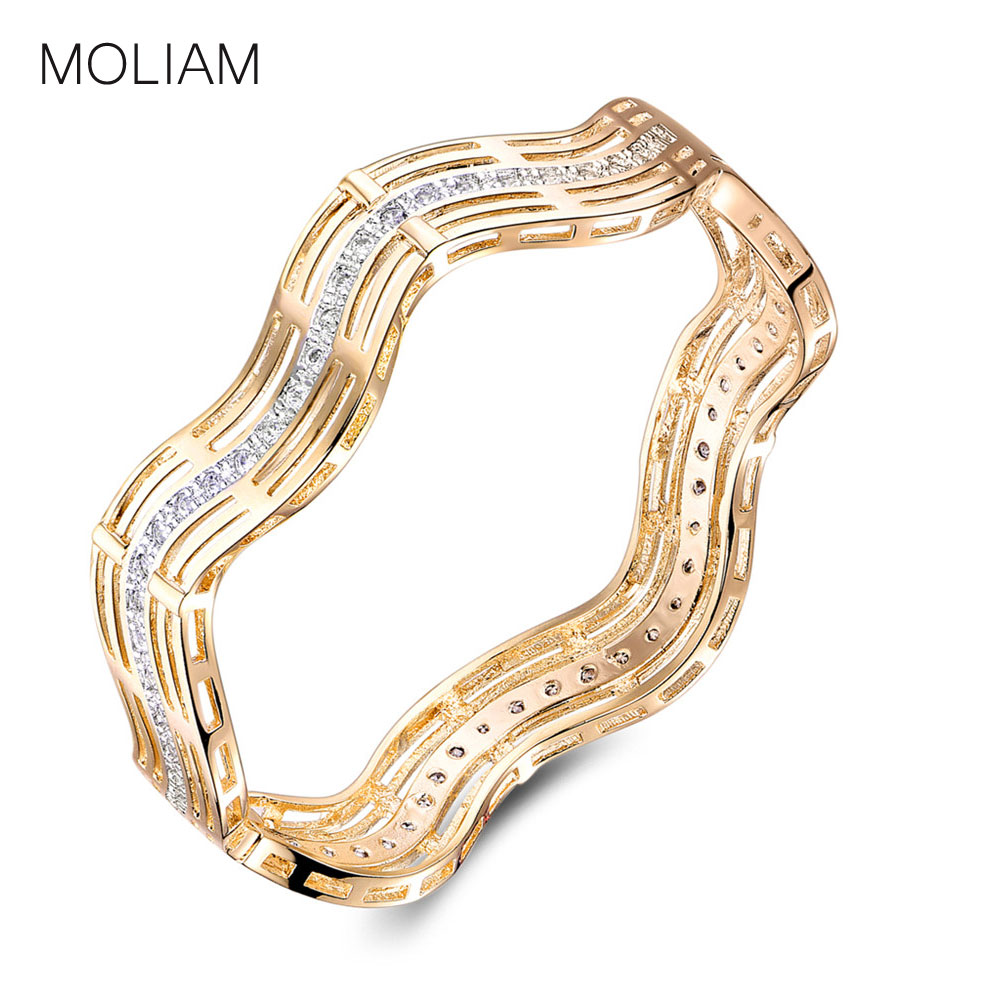 MOLIAM New Fashion Hollow Bangle for Women Gold-Color Bracelet AAA Zirconia Crystal Engagement Jewelry Drop Shipping MLZ012