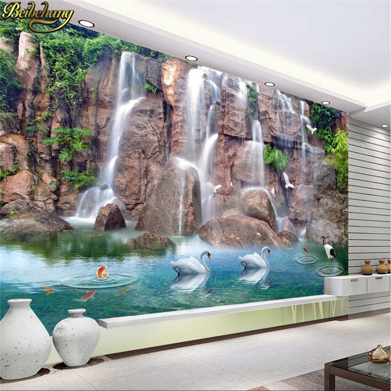 цены beibehang Papel De Parede 3D Rock Falls wallpaper for walls 3 d photo Mural Wall paper Living Room Bedroom TV Background sticker