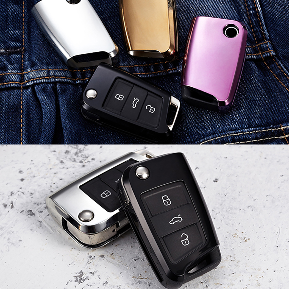 car TPU Car Key Case Protection Key Cover Shell Fob Holder For Volkswagen VW TIGUAN L Golf 7 Passat Skoda Octavia keychain title=