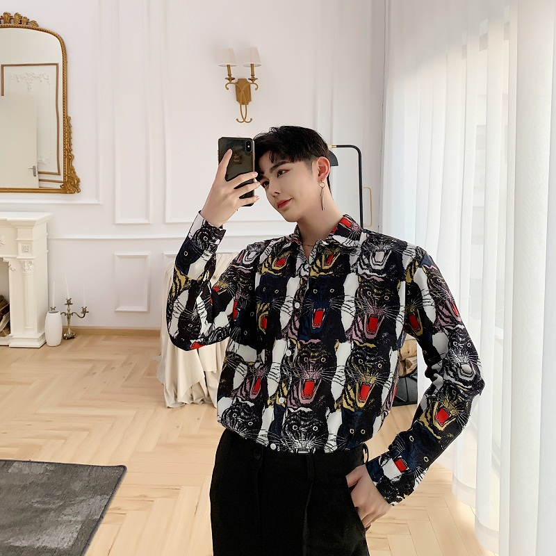 2019 New Men Fashion Tiger Head Print Casual Long Sleeve Shirt Male Vintage Loose Dress Shirts Streetwear Hip Hop Stage Clothing-in Casual Shirts from Men's Clothing    3
