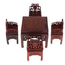 Vintage 1/6 Mini conjunto de muebles de achiote Silla de mesa cuadrada para casa de muñecas sala de estar accesorio
