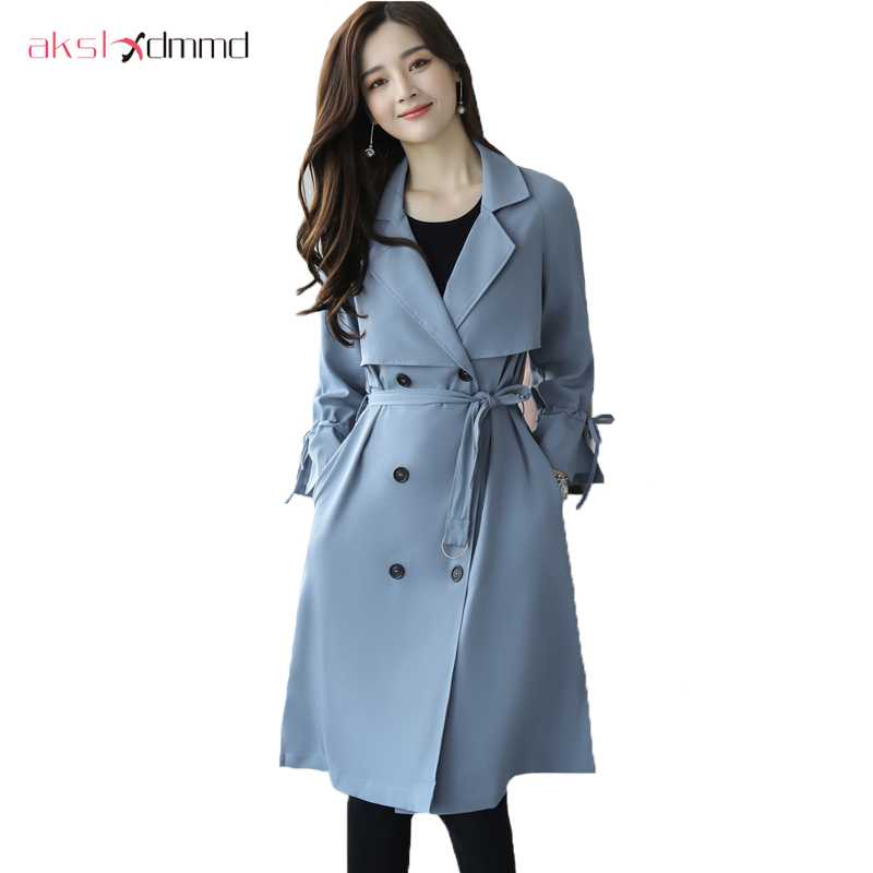 AKSLXDMMD New Spring Autumn Fashion Casual Women's Khaki   Trench   Coat Long Outerwear Loose Clothes For Lady With Belt YR147