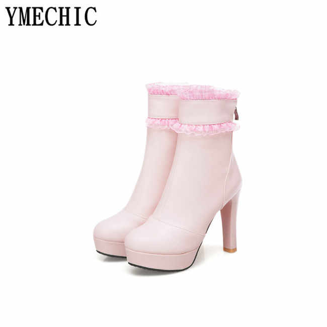 ... YMECHIC Womens Beige Pink Platform High Heels Fashion Lolita Ankle Boots  Lace Ruffles Plus Size Party ... 7c71436c21f2