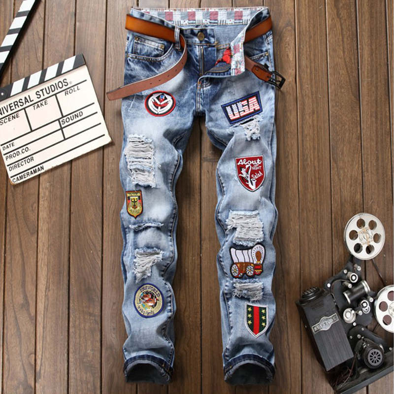 Men Badge Patchwork Jeans Ripped Biker Hole Denim Patch Jeans for Men Embroidery Straight Slim Jeans Pants Night Club Trousers 2017 new men s fashion vintage zipper patch hole ripped biker jeans slim straight stretch denim pants long trousers
