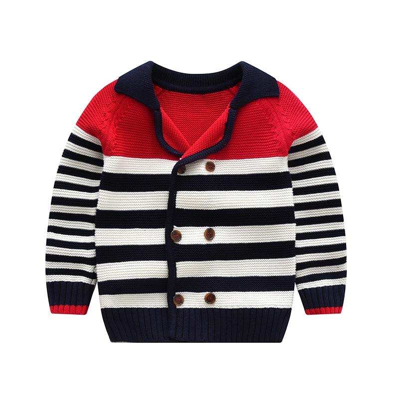 fashion Europe Children's sweater Girls Striped pattern tops baby knitted cardigan clothes kids cotton outwear geo pattern hidden pocket cardigan
