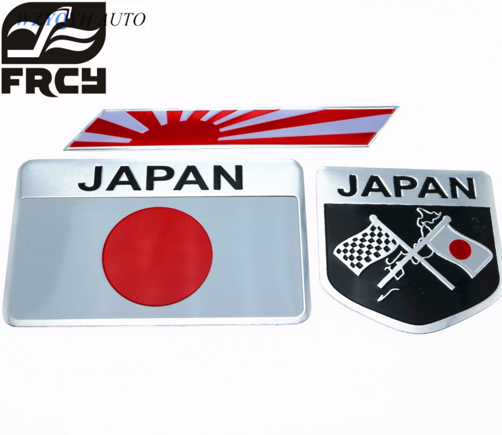 Car Styling Japanese Flag Emblem Badge Sticker Decals Accessories For Toyoto Nissan Mazda Lexus Car-styling auto chrome camaro letters for 1968 1969 camaro emblem badge sticker