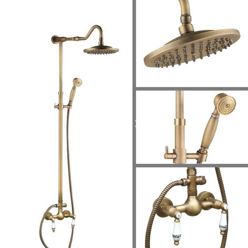 Two Ceramics Handles Vintage Retro Antique Brass Wall Mounted Rain Shower Handshower Faucet Set Mixer Tap aan503