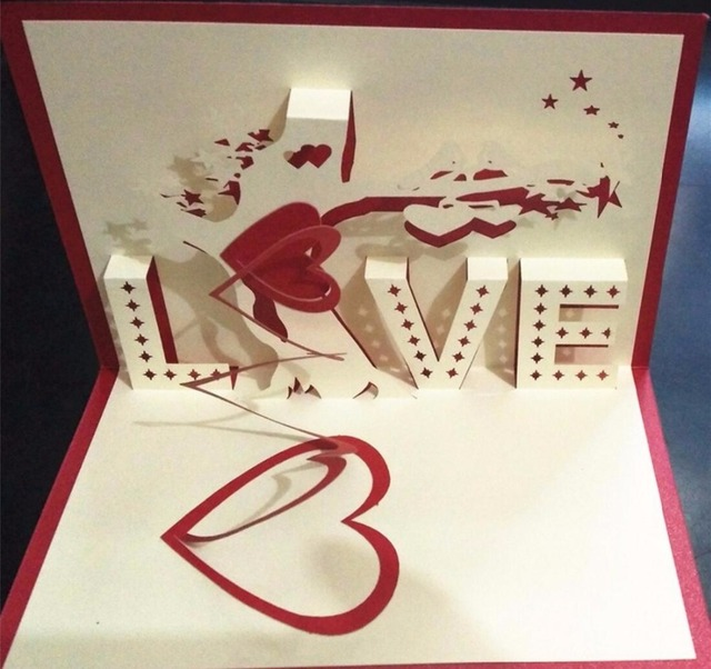 3d Percept Love Confession Tree Girlfriends Birthday Card Wedding
