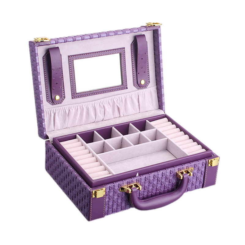Portátil trenzado collar de la joyería patrón caja de almacenamiento multi-funcional Anillos Pendientes organizador para las mujeres regalo