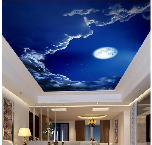 customized 3d photo wallpaper 3d ceiling murals wallpaper romantic night sky the moon suspended. Black Bedroom Furniture Sets. Home Design Ideas