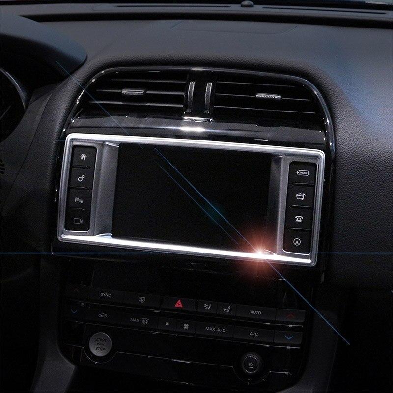 For Jaguar XE F-Pace Chrome ABS Car Navigation Frame Centre Console Trim Decorate Cover 2015 2016 Car Accessories
