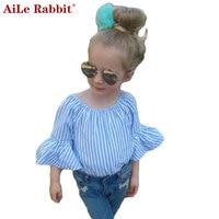 AiLe Rabbit 2017 INS Newest Girls Suits Lace Rose Shirt Shorts 2 Pieces Sets Fashion Kids
