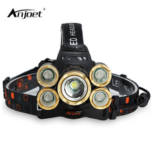 ANJOET 5 LED cycling Headlamp 4R5 1T6 15000 lumens Zoomable rechargeable focusable Headlight Flashlight Torch Fishing camping