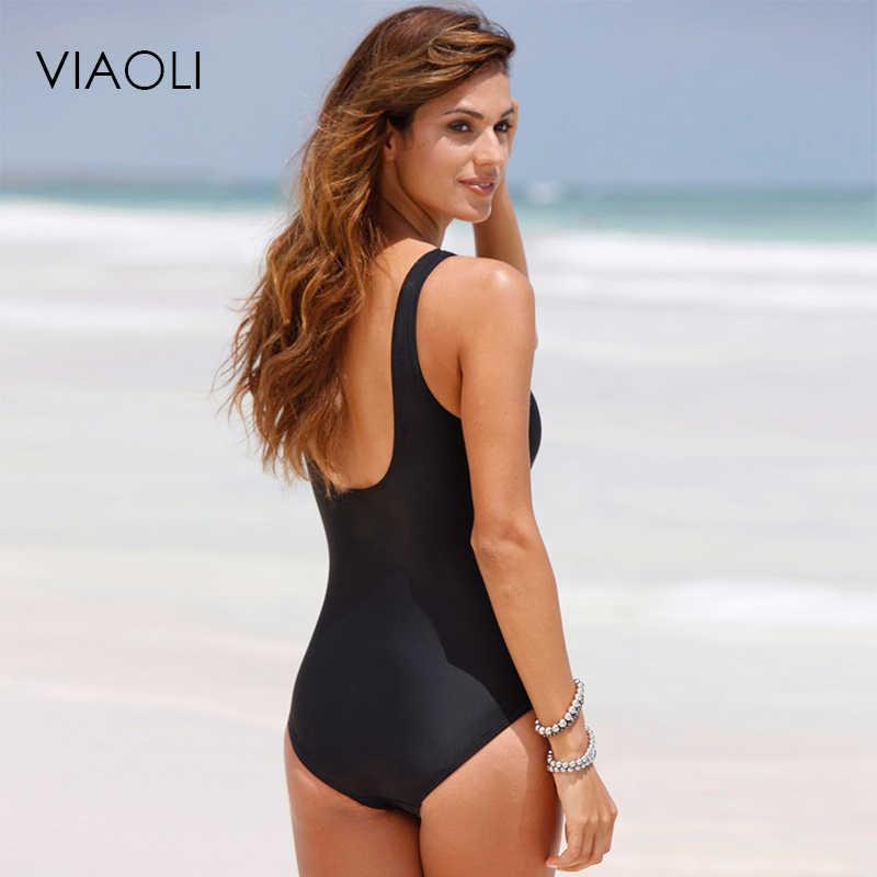 VIAOLI 2018 جديد واحد قطعة ملابس السباحة النساء زائد حجم ملابس السباحة الرجعية خمر لباس سباحة وبحر طباعة ملابس سباحة حريمي Monokini 5XL