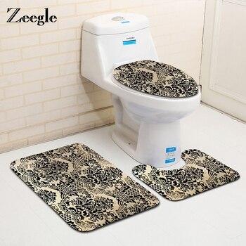 Zeegle Classical European Pattern 3Pcs Toilet Rug Set Bathroom Carpet Non-slip Floor Mat Absorb Bath Mats Sponge Toilet Cover Туалет