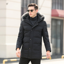 Brand 2018 New Men's Winter Jacket Solid with Large Real Raccoon Fur Collar Hood Warm Duck Down Jacket Men Casual Outwear CO130
