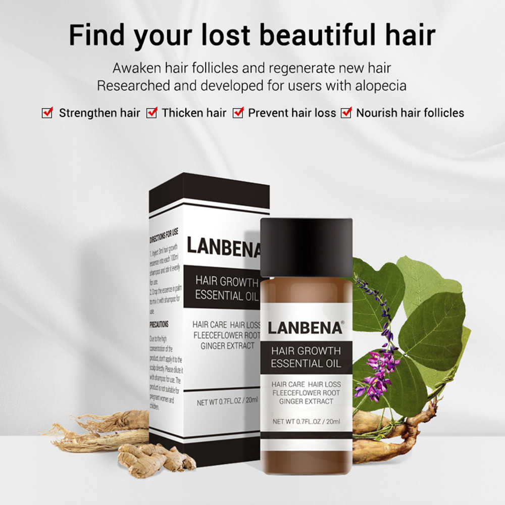 LANBENA نمو الشعر زيت طبيعي سريع قوي تساقط الشعر السائل العلاج منع تساقط الشعر للرجال والنساء