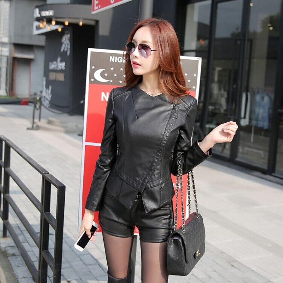 women plus size N-3XL leather jacket fashion turn collar Leather & Suede Faux Soft PU leather Coat zipper pocket black/gray