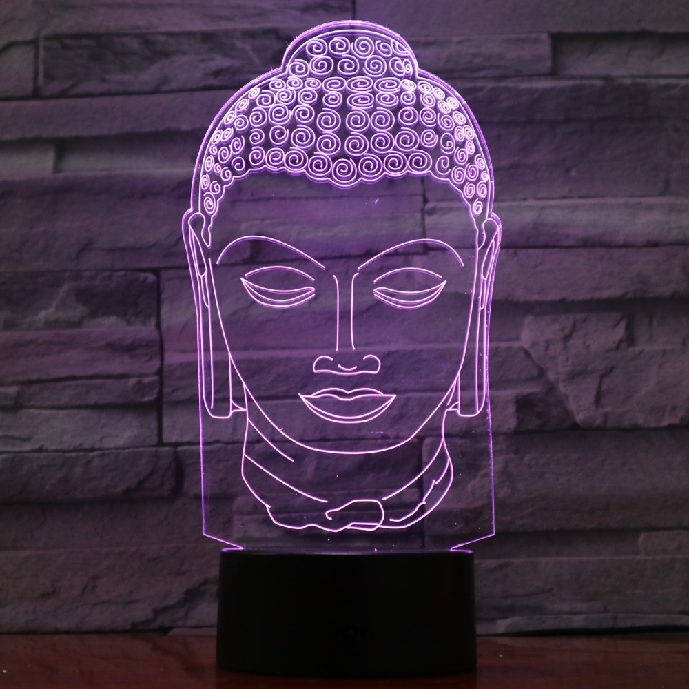 3D Buddha Lamp 7 Color Changing Night Lamp Atmosphere Bulbing Light LED Visual Illusion Friends Gift Party Decor Drop Shipping color changing dolphin shape 3d visual led night light