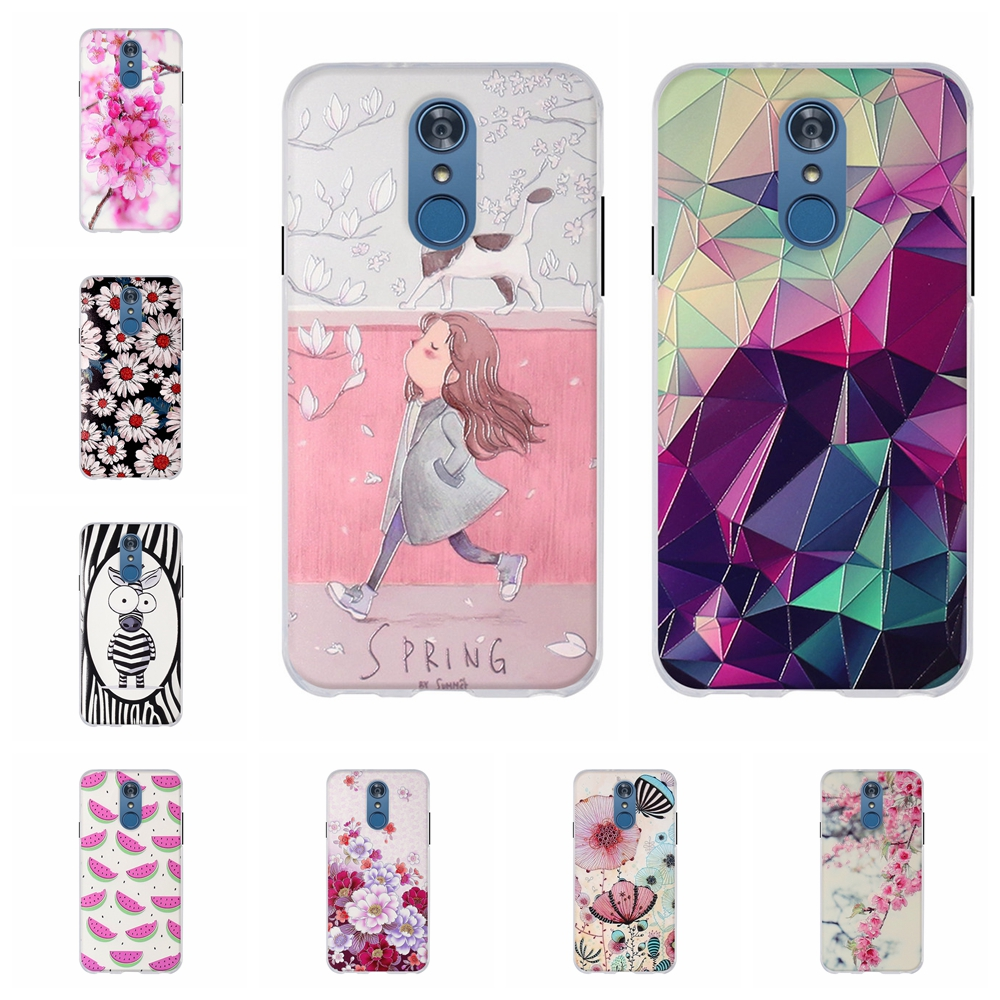 For LG Q7 Protective Case Ultra-slim Soft TPU Silicone Plus Cover 3D Floral Patterned Alpha Bumper Funda