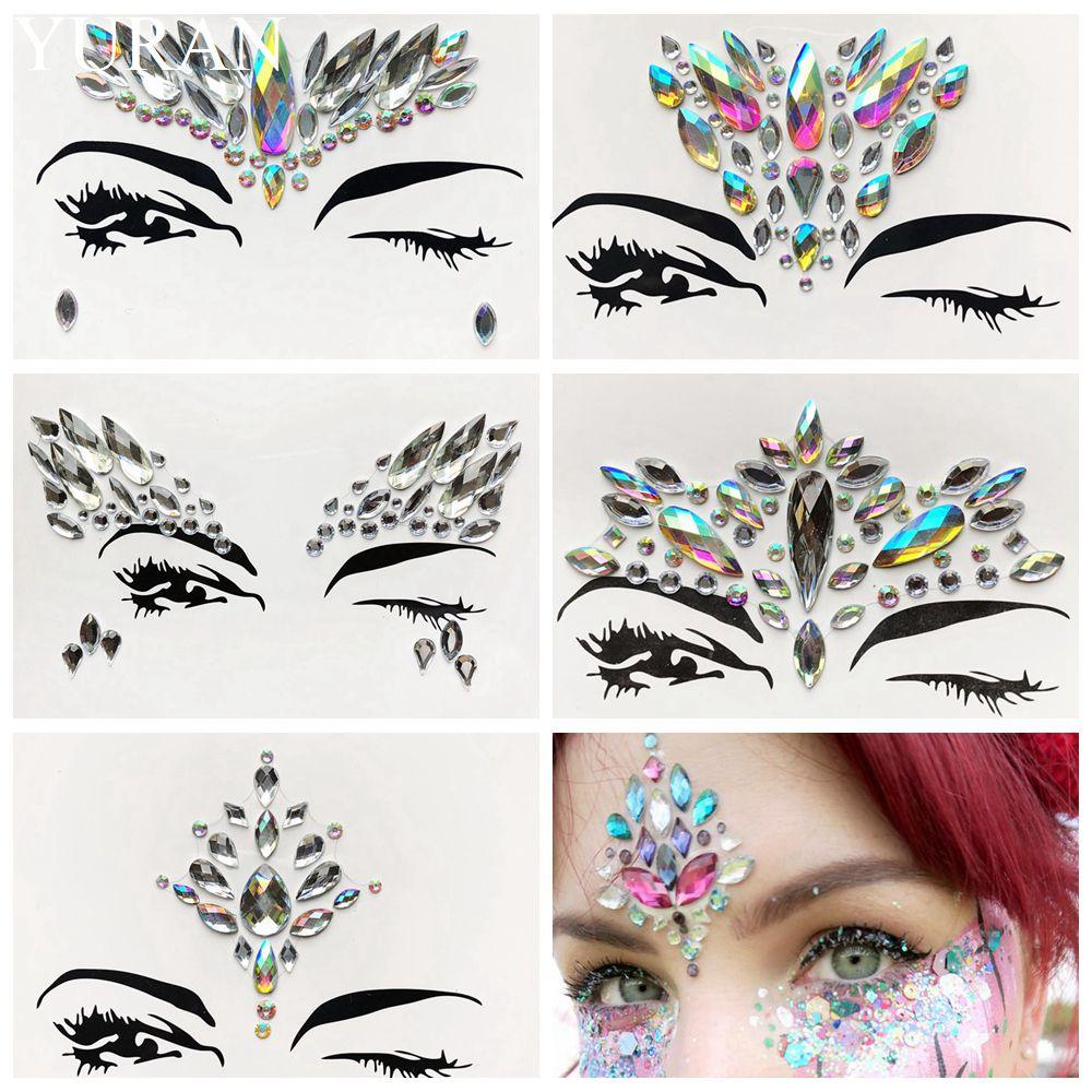 Beauty Eyeshadow Flash Eye Diamond Jewelry Sticker Women Evening Bohemia Self Adhesive Glitter Face Decor Eye Accessories Tattoo