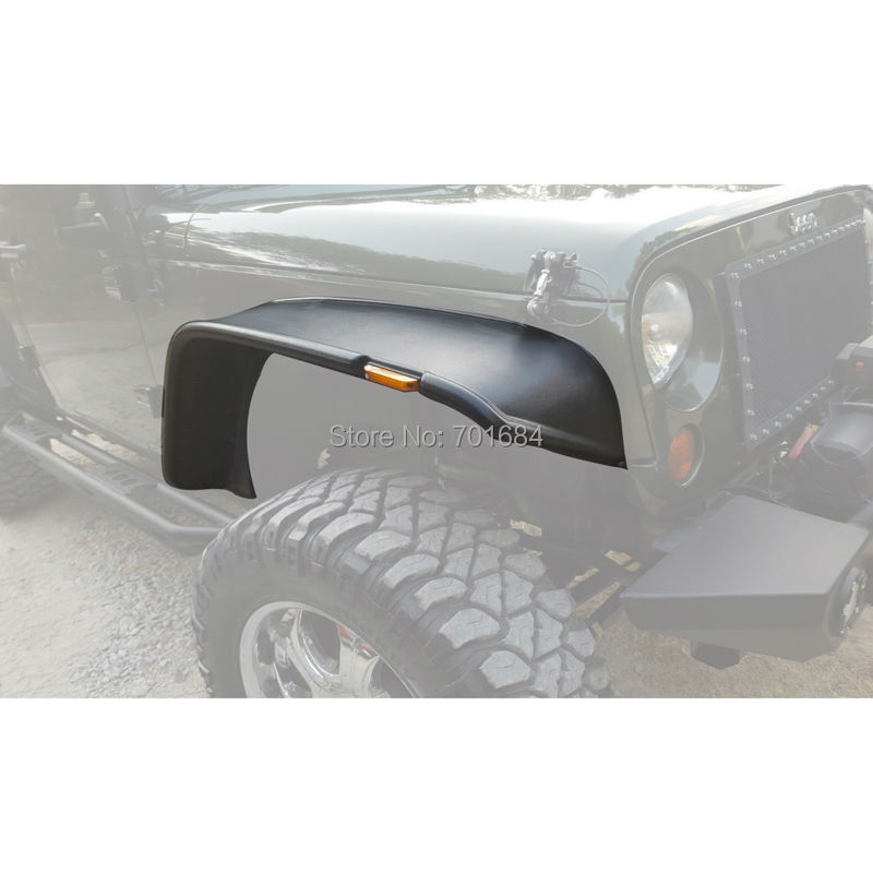 Wotefusi Front Rear Flat Fender Flares Kits For Jeep Wrangler JK 2/4 Doors 2007 2008 2009 2010 2011 2012 2013 2014 2015 [QPA231] 4pcs black led front fender flares turn signal light car led side marker lamp for jeep wrangler jk 2007 2015 amber accessories