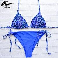 Bikini 2016 New Arrival Women Sexy Low Waist Bikini Halter Bikini Set Ladies Print Blue Top