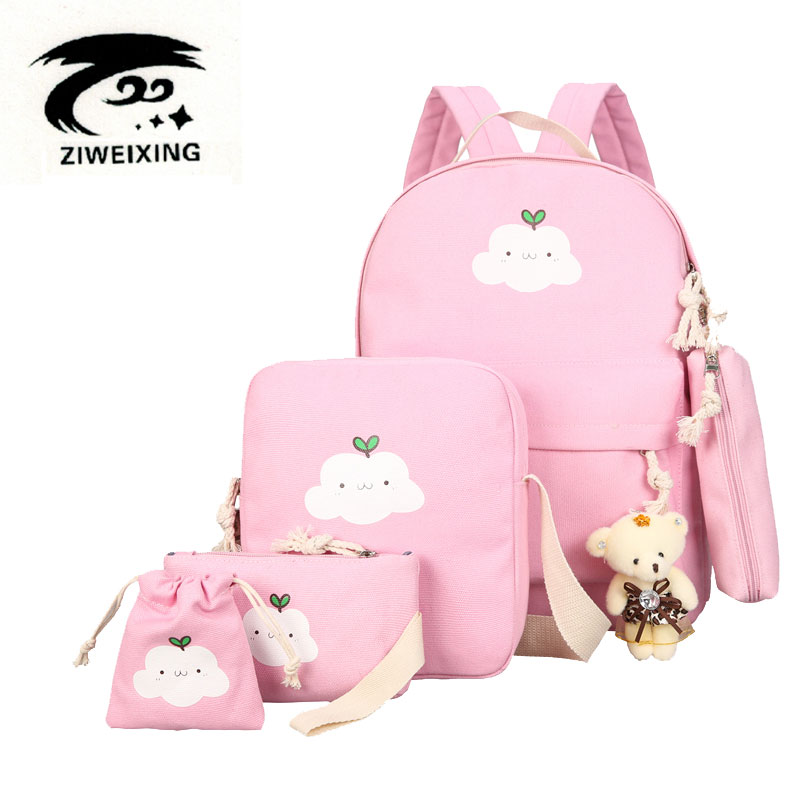 цены  ZIWEIXING Canvas Backpacks Clouds Printing Women Backpack High Quality School Bags For Teenage Girls Cute Bookbags Mochila 5 set